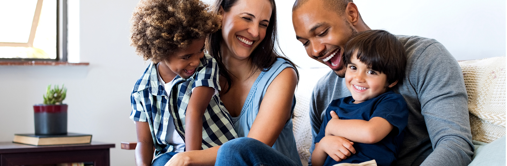 Family having fun and laughing at home