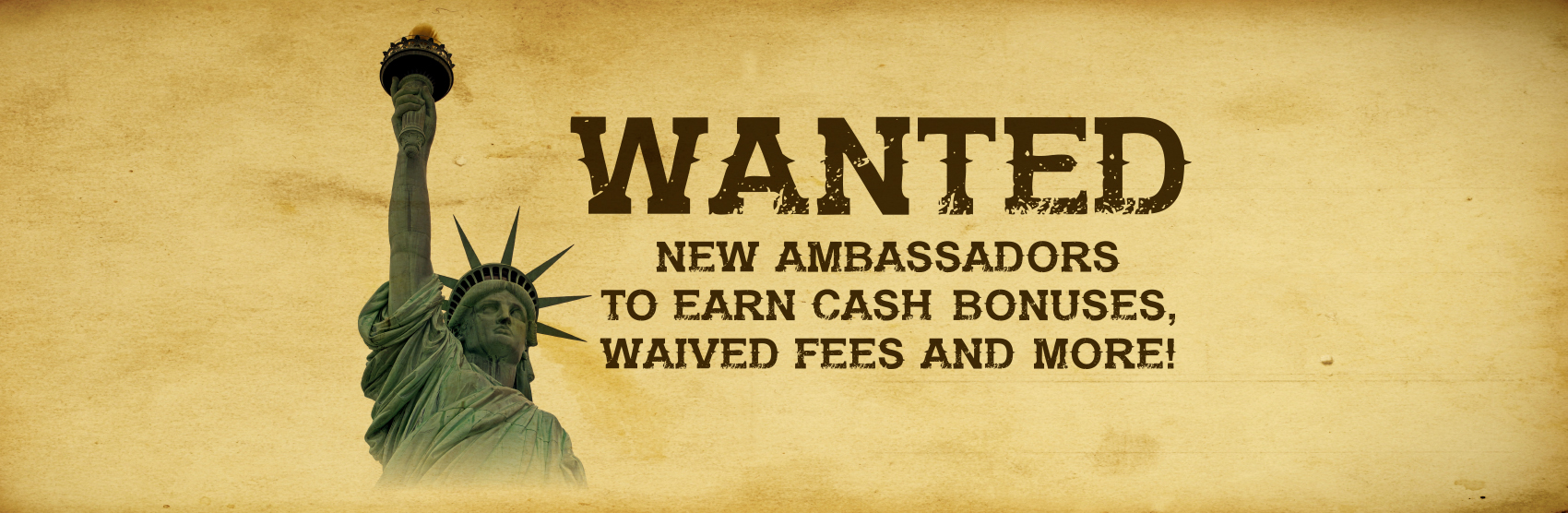 Illustration of Statue of Liberty with text promoting the Ambassador's Club