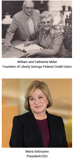 Photos of William Miller, Catherine Miller and current CEO, Maria Solorzano.
