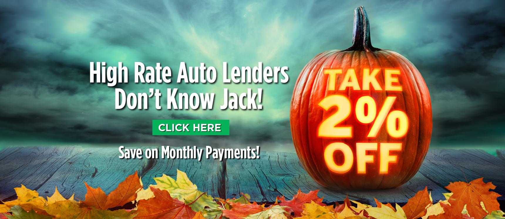 Pumpkin image promoting 2% off auto loan promotion