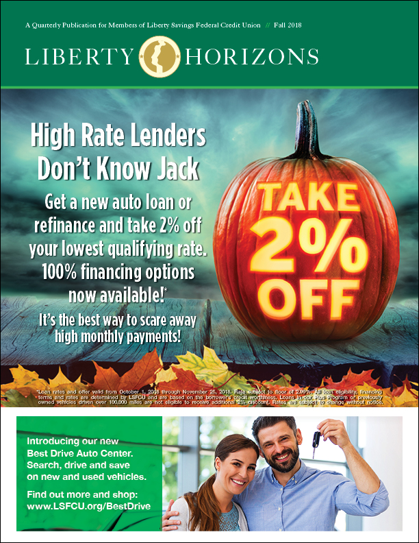 Halloween themed newsletter cover with auto loan offer