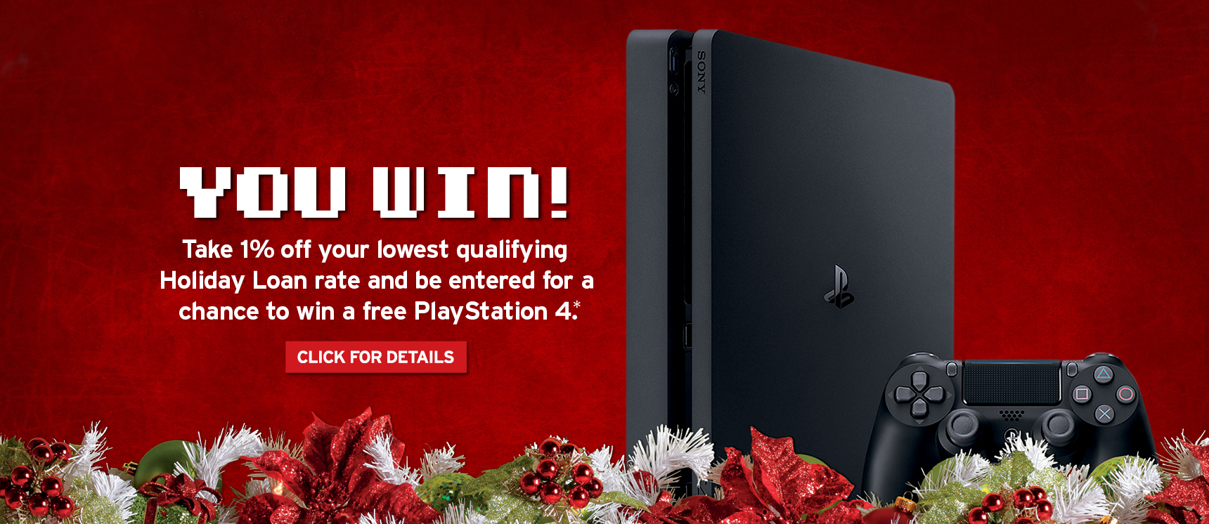 Banner image of PlayStation4 saying You Win with click for details button
