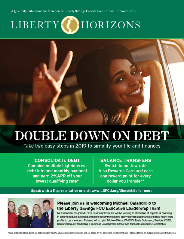 Photo of woman promoting the double down on debt promotion and leadership welcome graphic