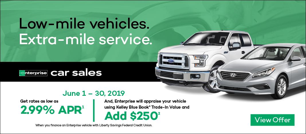 Enterprise car sales banner with member offer