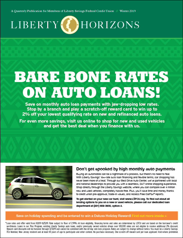 Halloween auto loan promotion on the cover. White text on green background.