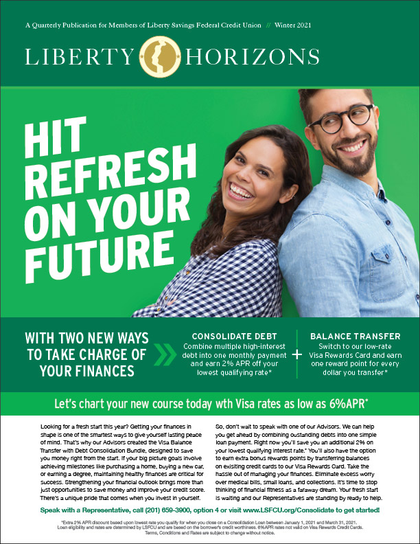 Happy couple standing back-to-back promoting the debt consolidation, Visa Card Q1 promotion
