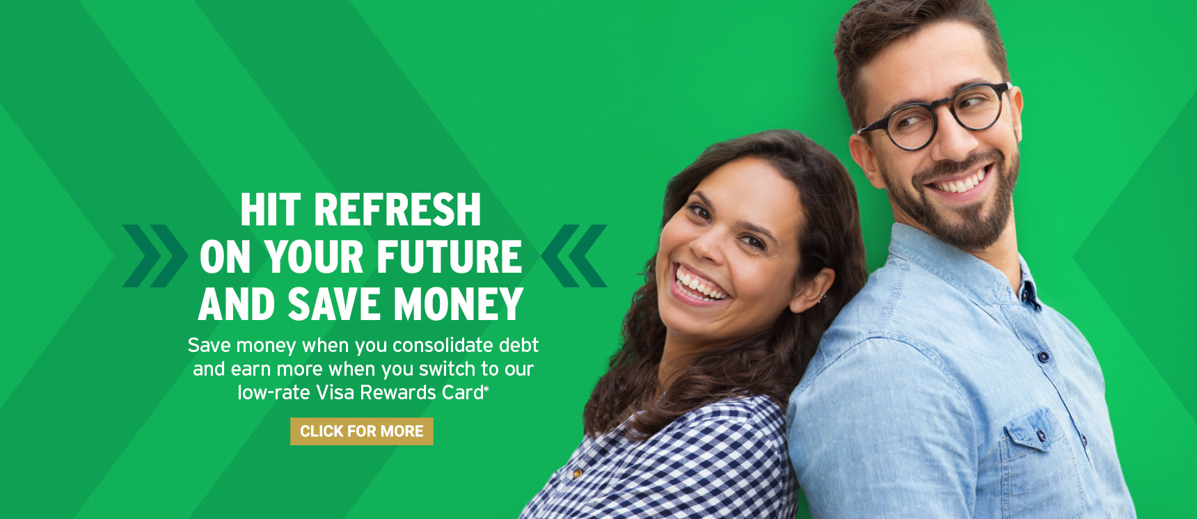 Happy couple that just went to Liberty Savings for a new Visa Credit Card and Debt Consolidation
